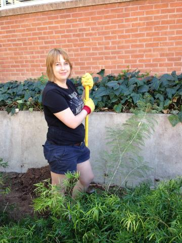 SWES Club President Katie taking a brief rest from her labors for this picture!